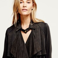 Free People Womens Knit Trench Coat - Black