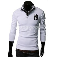 Stylish Men's New York Yankees Embroidered Long Sleeve Polo T-Shirt Free Shipping!  - US$14.99