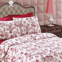 Custom Queen Unique Floral Printed on White Backround Satin Bedding Set with Burgundy, Maroon Red Sheet