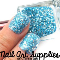 Aqua Shine - Bright Blue and Silver Glitter Nail Polish 16ml from nailartsupplies