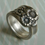 Spoon Ring Antique Silver Pattern April by Revisions on Etsy