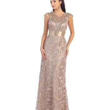 Taupe Belted Lace Floor Length Dress 2015 Prom Dresses
