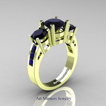 Modern 18K Green Gold Three Stone Black Diamond Blue Sapphire Wedding Ring R94-18KGGBSBD
