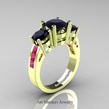 Modern 18K Green Gold Three Stone Black Diamond Pink Sapphire Wedding Ring R94-18KGGPSBD