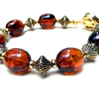 Retro Tortoise Shell Bracelet:  Chunky Vintage Lucite Beaded Jewelry, Topaz Brown Antiqued Gold