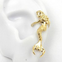 Gold Vermeil Sitting Mermaid Ear Cuff Earring Left ear: Jewelry: Amazon.com