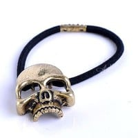 1Pc Bronze Metal Skull Head Rubber Hair Tie Band Ponytail Holder Cool Rock Punk on eBay!