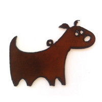 Rustic, Recycled Metal Chubby Dog Canine Puppy Large Pendant Charm Christmas Ornament Jewelry Supplies