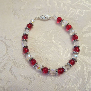 Red & Crystal Elegant Beaded Bracelet