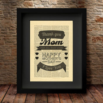 Thank You Mom Mother's Day Art Print, Mother's Day Digital Print, Wall Decor, Gift for Mom Typography Art