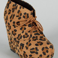 Soda Pager-S Leopard Lace Up Platform Wedge Bootie