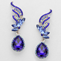 Blue Floral Drop Crystal Earrings