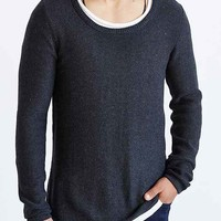 The Narrows Long Scoop Neck Sweater- Dark Grey