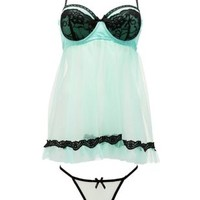 Mesh & Lace Chemise & Thong Set by Charlotte Russe - Pale Mint Combo