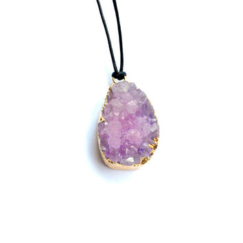 Natural Amethyst Druzy Long Necklace 18K Gold with Leather Cord (Brown or Black)