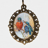 Kingfishers Necklace, Bird Jewelry, Oval Pendant
