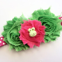 Frog Headband for Girl - Hot Pink Polka Dot Headband - Green Shabby Flower Head Band for Spring - Toddler Headband - Girls Headband