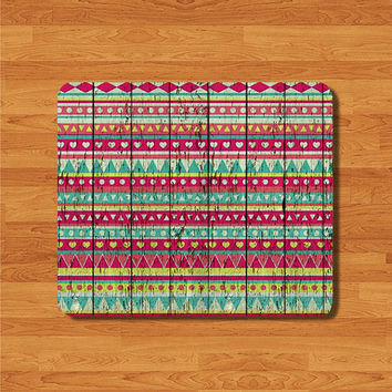 Pink Aztec Wood Minimal Pattern Mouse Pad Desk Deco Rubber Pad  Natural Soft Fabric Rubber Backing MousePad Tribal Personalized Gift