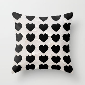 Black Hearts to Crumble Throw Pillow by RichCaspian