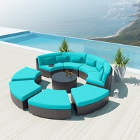 NEW Uduka 9pcs Outdoor Round Sectional Patio Furniture Espresso Brown Wicker Sofa Set Turquoise All Weather Couch