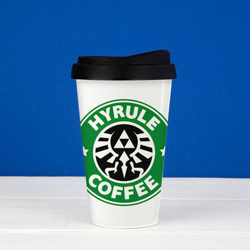 Hyrule Coffee starbucks logo zelda  === Custom Double Wall Plastic Mug