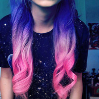 Lavender Candy Ombre Dip Dye Clip In Human Hair Extensions 14&quot;