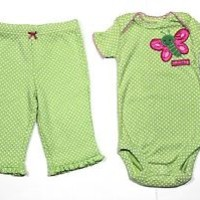 NWT Carter's Cute Baby Girl's Butterfly One Piece + 1 Pants Set size 0-3 Months