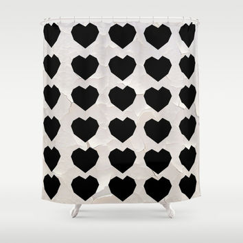 Black Hearts to Crumble Shower Curtain by RichCaspian