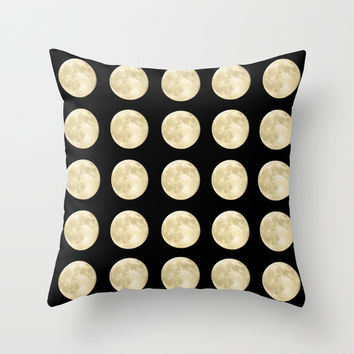 PolkaMoons Throw Pillow by RichCaspian