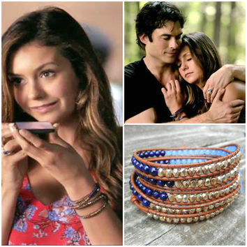 Beaded Leather Wrap Bracelet 4 or 5 Wrap with Blue Riverstone, Periwinkle and Gold Glass Beads on Saddle Leather Seen on The Vampire Diaries