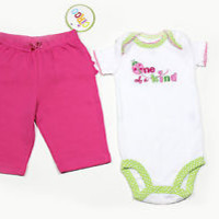 CARTER'S ONE OF A KIND LADYBUG One Piece + 1 Pink Pants GIRL NEWBORN 3M