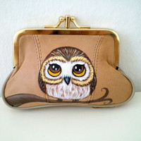 Owl Purse - Handpainted Owl Camel Leather Purse - owl coin purse wallet  unique gift for owl lovers