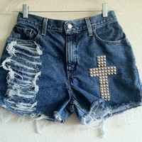 High Waisted Cross Studded Distressed Levi's Shorts (Size 28)