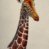Vintage Style Giraffe Head  Color Graphic Iron On Tote Bag Pillow Sheet Burlap Transfer  Graphic Digital Download No. C22