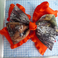 Mossy Oak Camo Hair Bow - Orange Double Ruffle