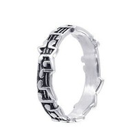 5mm Musical Notes Band 925 Sterling Silver Ring Size 9