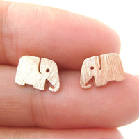 Simple Elephant Shaped Silhouette Stud Earrings in Rose Gold | Allergy Free