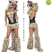 2012 Sexy Women's Furry Cheetah Halloween Game Costume Cosplay Outfit