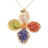 Fashion Colorful Flower Stylish Cloths Necklace