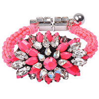 Luxurious Crystal Big Flower Rope Hand Knitting Statement Bracelet