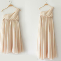Greek Goddess Elegant Dress Champagne Gown/ Bridesmaid Dress 3 Colors
