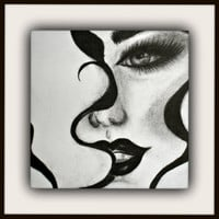 Print of Original Black and White Charcoal Drawing - Sexy Abstract Lady - Sultry Lips - Smokey Eyes in Black, Blue or Green - Bold Artwork