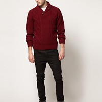 Farah Vintage Chunky Jumper with Shawl Neck at asos.com