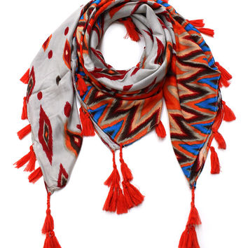 Cozy By LuLu- Aztec Tribal Scarf in Orange