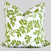 Lime Green Birds in Tree Robert Allen Pillow Cover by PopOColor
