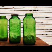Vintage Green Glass Juice Jars by SofiaMarierepurposed on Etsy