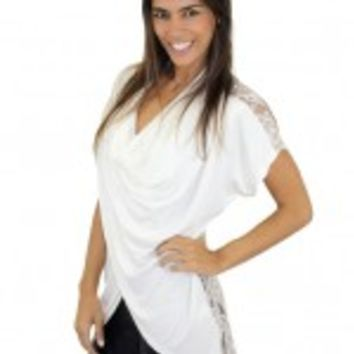 Ivory Short Sleeve Top With Lace Back