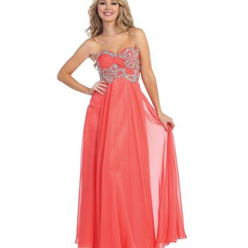 Preorder -  Coral Empire Waist Strapless Beaded Ruched Gown 2015 Prom Dresses