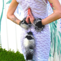 SnOw OwL faux fur TaiL and Wrist Cuffs -- Black // White Feathered Fur Costume Accessory -- fluffies furry tribal dance festivals pixie