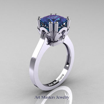 Classic 14K White Gold 2.0 Carat Princess Alexandrite Solitaire Wedding Ring R301E-14WGAL